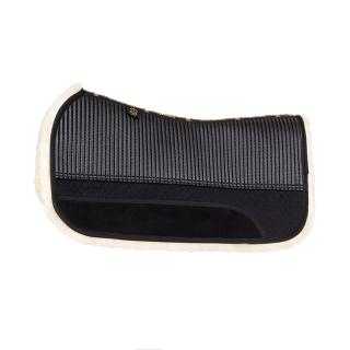 """BARTL Lammfell Western Pad """"SQUARE"""" mit Taschensystem Lammfell Natur / Textil schwarz"""